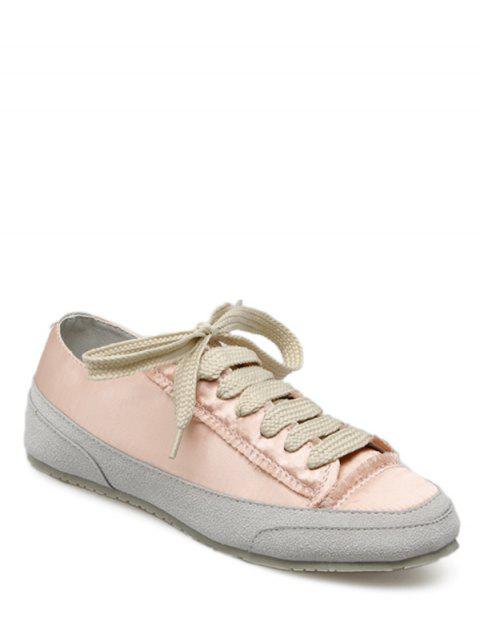 shops Suede Insert Satin Sneakers - CHAMPAGNE 37 Mobile