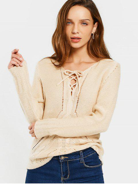 chic Sheer V Neck Lace Up Sweater - APRICOT S Mobile