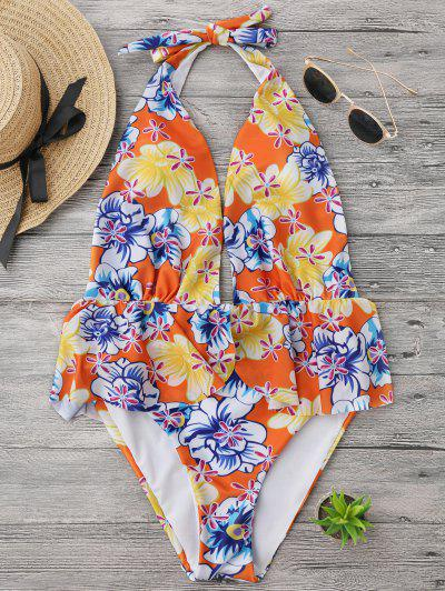 Ruffles Plunge Backless High Cut Swimwear - Floral M