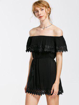 De Hombro De Encaje De Panel Vestido De Bandolera Ceñido - Negro M