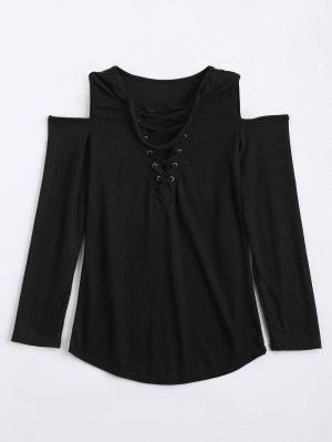 De Hombro Frío Encaje Hasta Choker Knitwear - Negro - Negro S