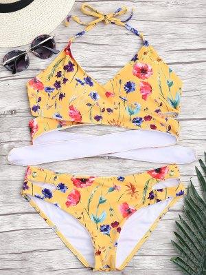 Découpez Un Mince Bikini Floral - Gris S