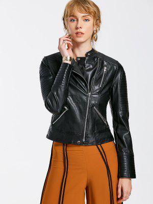 Jaqueta de couro de moto em relevo PU - preto Xl