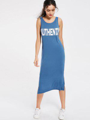 Letra Slit Casual Vestido De Midi - Azul S