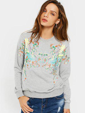 Loose Casual Embroidered Sweatshirt - Gray L