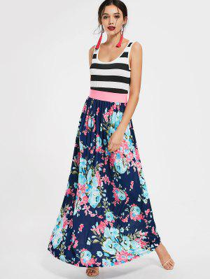 U Neck Striped Floral Print Maxi Dress - Floral M