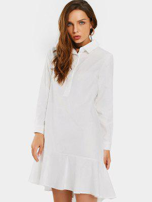 Ruffled Hem Half Buttoned Casual Dress - White S