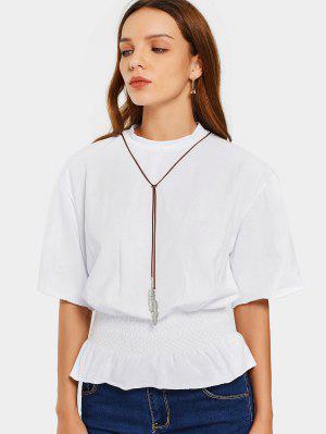 Blusa De Meia Blusa Com Cintura - Branco 2xl