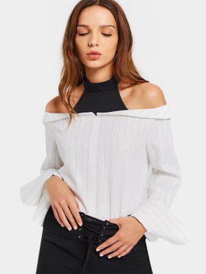 Stripes Painel Cold Shoulder Blouse - Listras 2xl