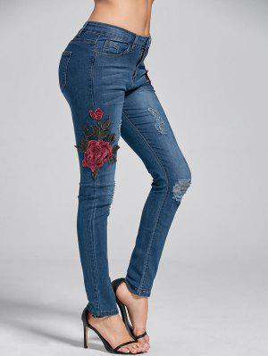 Embroidery Skinny Ripped Jeans - Denim Blue M