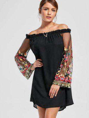Embroidery Flare Sleeve Off The Shoulder Dress - Black L