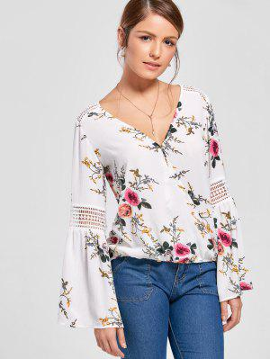 Allover Floral Flare Sleeve Blouse - Branco 2xl