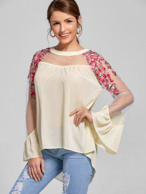 Embroidery Flare Sleeve High Low Hem Blouse - Light Beige M