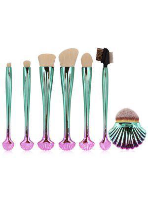 Ensemble De Brosses De Maquillage Shell Ombre 7Pcs - Blanc