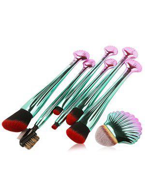 7Pcs Plating Shell Ombre Cepillos De Maquillaje Set - Rojo Con Negro