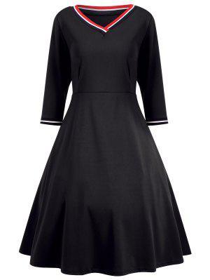 V Neck Three Quarter Sleeve Dress - Black 2xl