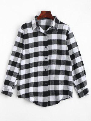 Camisa De Palha Com Botão Para Cima - Preto Xl