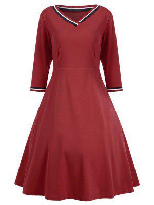 Vestido Con Cuello En V De Tres Cuartos - Rojo M