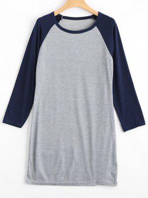 Raglan Sleeve Ribbed Knitted Dress - Purplish Blue M
