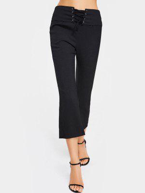 Corset Lace Up Boot Cut Ninth Pants - Black M