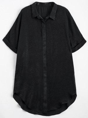 Camisa De Palangre Lisa De Botão Acima - Preto L