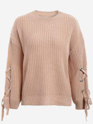Drop Shoulder Lace Up Sweater - Khaki