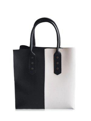 Metal Embellished Two Tone Tote Bag