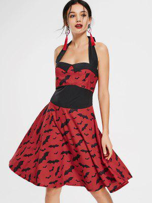 Bat Print Halter Vintage Flare Dress - Red L