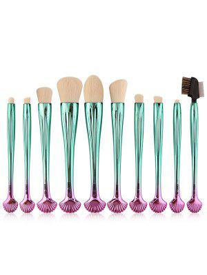 10Pcs Gradient Color Multifunction Ocean Shell Brushes Set - White And Green