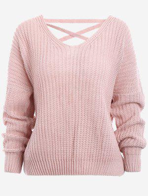 Back Lace Up Drop Shoulder Sweater - Pink