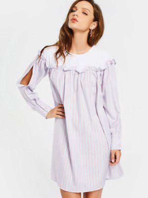 Split Sleeve Stripes Ruffles Casual Dress - Stripe S