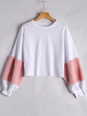 Puff Sleeve Faux Fur Embellished Sweatshirt