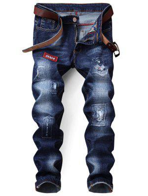 Pantalones vaqueros de parches con cierre de cremallera