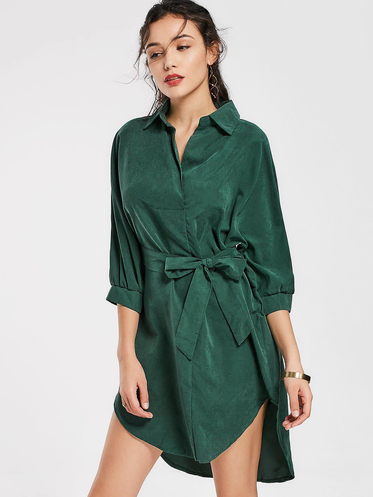 Belted Plain High Low Dress