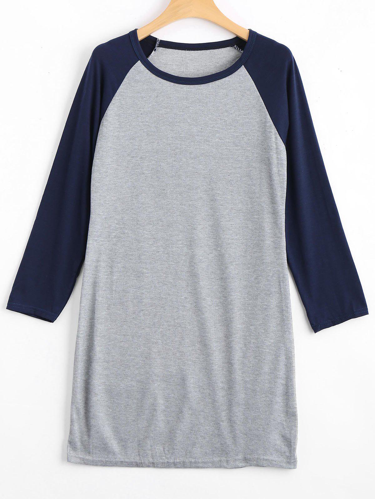 Raglan Sleeve Ribbed Knitted Dress 222153505