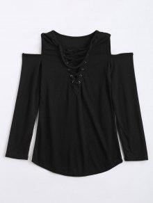 Cold Shoulder Lace Up Choker Knitwear - Black Xl