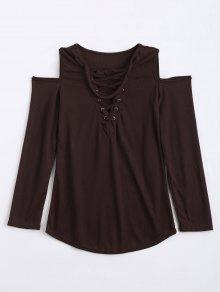 Cold Shoulder Lace Up Choker Knitwear - Coffee Xl