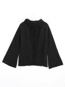 Buy Cut Lace Turtleneck Sweater - BLACK ONE SIZE