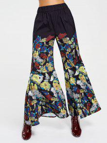 High Waisted Floral Bell Bottom Pants - Floral L