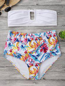 Floral Strapless High Waisted Bikini - White L