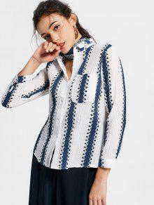 Botón Encima De La Camisa Rayada Con El Bolsillo - Azul Claro Xl