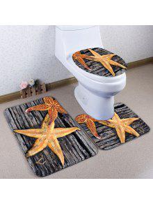 3 قطع الخشب لوح نجم حمام المرحاض حصيرة مجموعة - رمادي