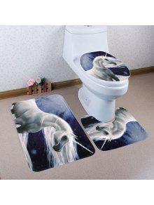 سنو يونيكورن نمط 3 قطع المرحاض حصيرة حمام حصيرة