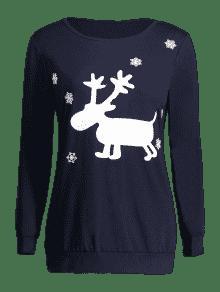 ... Christmas Deer Print Snowflake Sweatshirt ...