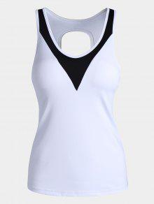 Cut Out Color Block Sporty Top - White L