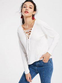 Plunging Neck Lace Up High Low Tee - White Xl