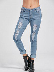 بنطلون جينز ضيق - ازرق L