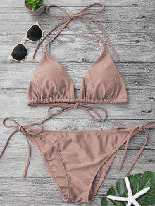 Adjustable Self Tie String Bikini Set - Pale Pinkish Grey M