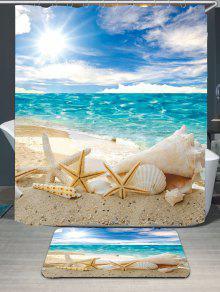 كونش شلز الشاطئ ماء حمام ستارة البساط مجموعة - أزرق W59 بوصة * L71 بوصة