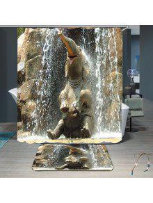الفيل حمام حمام دش الستار ماء مجموعة - رمادي W59 بوصة * L71 بوصة